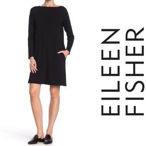 NWT Eileen Fisher Bateau Neck Knee Length Dress